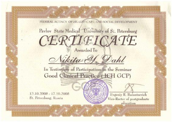 Сертификат Даль Никита Юрьевич