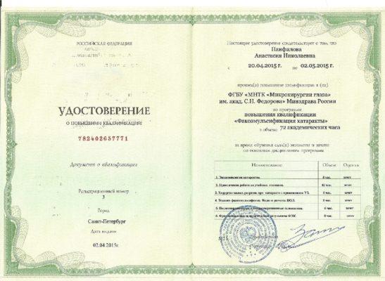 Удостоверение Панфилова Анастасия Николаевна