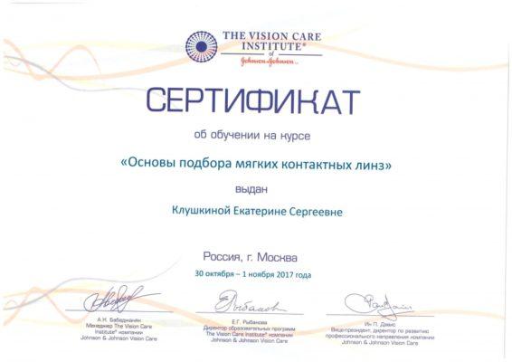 Сертификат Клушкина Екатерина Сергеевна