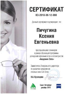 Сертификат Пичугина Ксения Евгеньевна