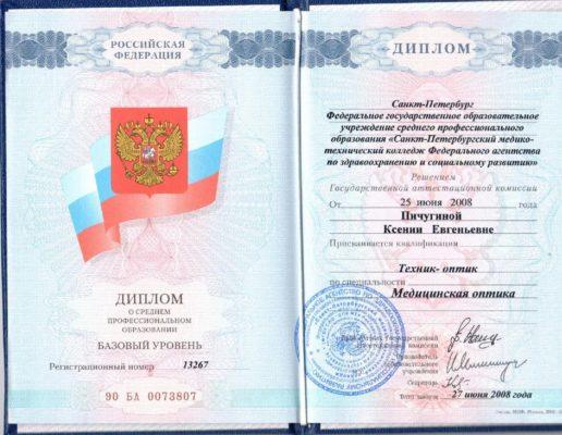 Диплом Пичугина Ксения Евгеньевна