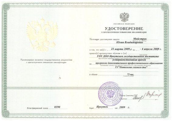 Удостоверение Майструк Юлия Владимировна
